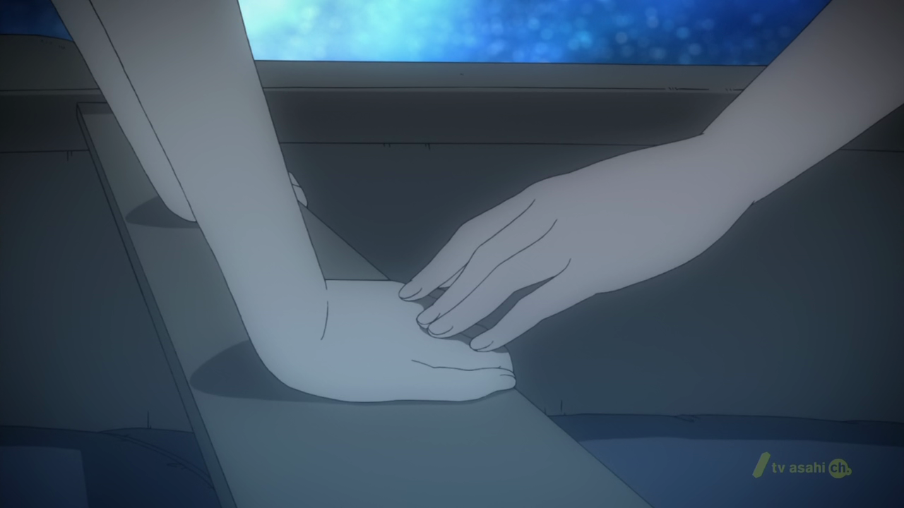spoilers for shin sekai yori and psycho pass female authority ssy ep 3 holding hands