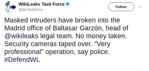 wikileaks office. Masked Intruders Have Broken Into The Madrid Office Of Baltasar Garzón, Head @wikileaks Legal Team. No Money Taken. Security Cameras Taped Over. Wikileaks